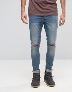 Зауженные рваные джинсы из денима плотностью 12,5 унций ASOS - Синий