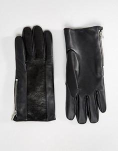 Черные кожаные перчатки с отделкой ASOS - Черный