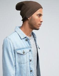 Свободная шапка-бини ASOS - Коричневый