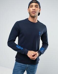 Свитшот с круглым вырезом и принтом на рукавах Jack & Jones - Темно-синий