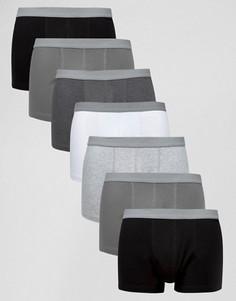 7 монохромных боксеров-брифов с серым фактурным поясом ASOS - Мульти