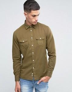 Рубашка классического кроя с длинными рукавами и карманами милитари Celio - Зеленый