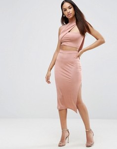 Облегающее платье миди с запахом ASOS - Розовый