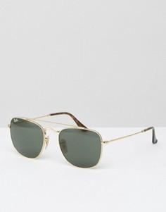 Солнцезащитные очки-авиаторы в прямоугольной оправе Ray-Ban 0RB3557 - Золотой