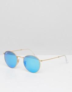 Круглые солнцезащитные очки-авиаторы с поляризованными линзами Ray-Ban 0RB3447 - Золотой
