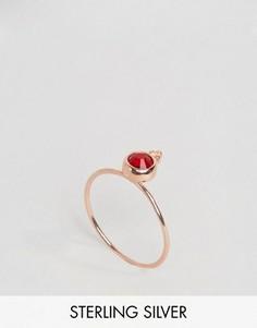 Серебряное позолоченное кольцо с камнем для родившихся в июле ASOS - Красный