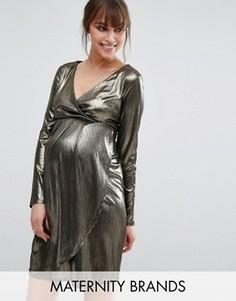 Блестящее платье с запахом для беременных New Look Maternity - Золотой