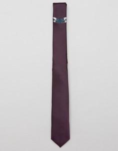 Фиолетовый узкий галстук с вышитыми бабочками ASOS - Фиолетовый