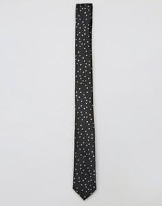 Черный галстук в горошек ASOS - Черный