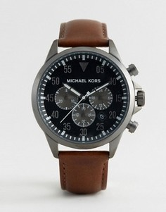 Часы с хронографом и коричневым кожаным ремешком Michael Kors MK8536 Gage - Коричневый