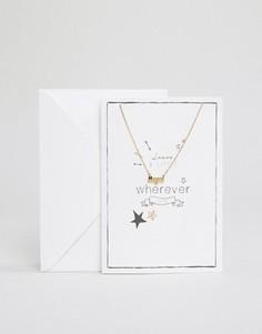 Ожерелье с подарочной открыткой Orelia Leave A Little Magic - Золотой
