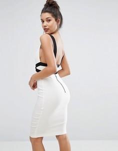 Эффектное контрастное платье-футляр с глубоким вырезом сзади Vesper - Кремовый