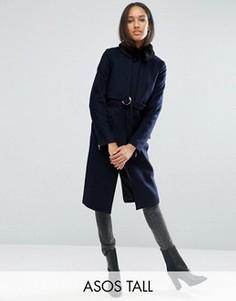 Пальто с добавлением шерсти, воротником из искусственного меха и поясом ASOS TALL - Темно-синий