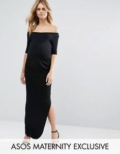 Платье макси для беременных с вырезом лодочкой и рукавами до локтя ASOS Maternity - Черный