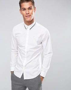 Узкая рубашка с длинными рукавами и отделкой на воротнике Selected Homme - Белый
