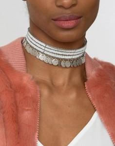 Ожерелье-чокер с бусинами и монетками Raga - Серебряный