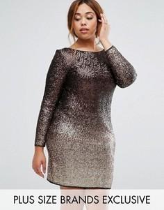 Платье с длинными рукавами и эффектом омбре из пайеток Coast Plus Demi May - Золотой