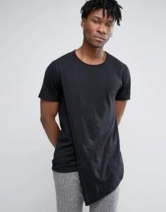 Длинная футболка с асимметричной драпировкой Only & Sons - Черный