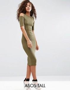 Облегающее платье в рубчик с вырезами на плечах ASOS TALL - Зеленый