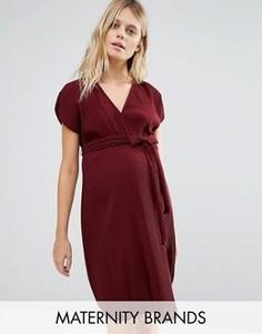 Плиссированное платье для беременных с запахом New Look Maternity - Красный