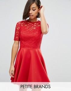 Шифоновое приталенное платье с кружевом John Zack Petite - Красный