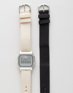 Цифровые часы с 2-мя сменными ремешками ASOS - Черный