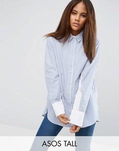 Oversize-рубашка в полоску с контрастными рукавами летучая мышь ASOS TALL - Мульти
