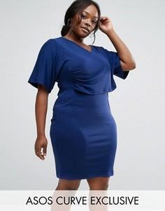 Платье-футляр из крепа с рукавами кимоно ASOS CURVE - Темно-синий