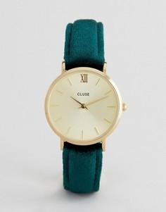 Часы с бархатным ремешком Cluse Minuit CL30040 - Зеленый