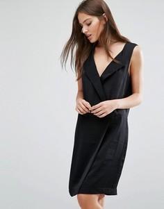 Строгое платье с V-образным вырезом Selected Femme Lina - Черный