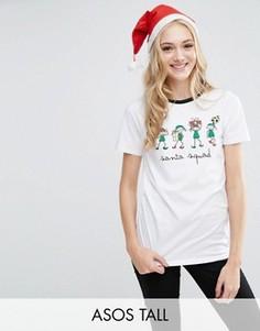 Новогодняя футболка с принтом ASOS TALL - Белый