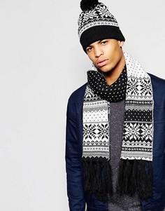 Шапка с помпоном и шарфом с узором Фэйр-Айл в комплекте 7X - Черный