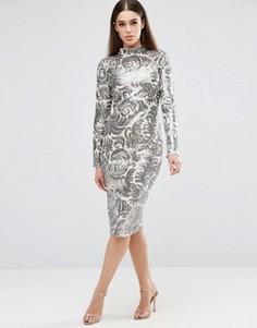 Платье миди с пайетками Club L - Серебряный