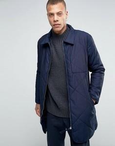 Темно-синяя длинная стеганая куртка Weekday Line - Темно-синий