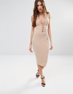 Платье-футляр миди с кружевом Hedonia - Коричневый