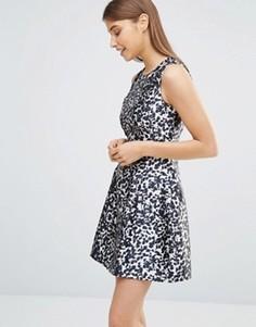 Короткое приталенное платье с леопардовым принтом AX Paris - Мульти