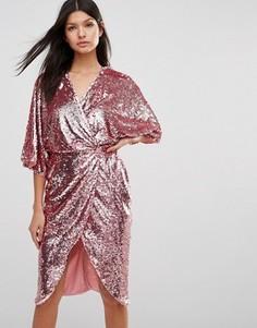 Платье миди с рукавами кимоно и отделкой пайетками Club L - Розовый