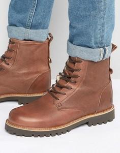 Теплые кожаные ботинки на шнуровке Shoe The Bear Walker - Коричневый