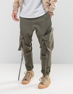 Выбеленные штаны цвета хаки с заниженным шаговым швом ASOS - Зеленый