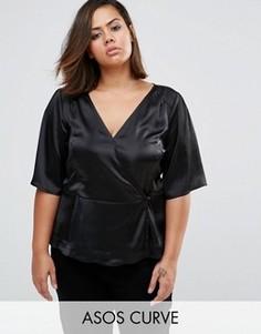Атласная блузка с запахом ASOS CURVE - Черный