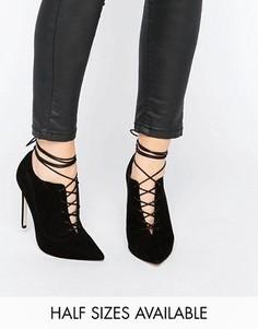 Туфли на каблуке с заостренным носком и шнуровкой ASOS PRYCE - Черный