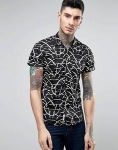 Рубашка с черным принтом листьев Scotch and Soda - Черный