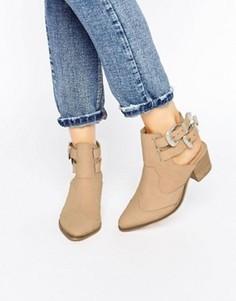 Кожаные ботинки в стиле вестерн ASOS RIVA - Бежевый