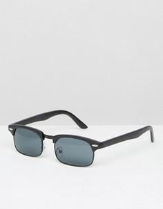 Черные матовые солнцезащитные очки в стиле ретро ASOS - Черный