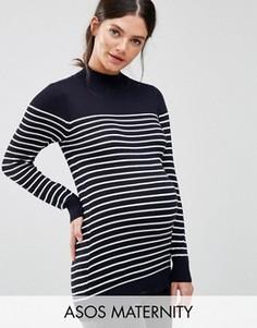 Джемпер для беременных в полоску с высокой горловиной ASOS Maternity - Мульти