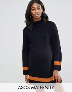 Платье-джемпер для беременных с высоким воротником и контрастной отделкой ASOS Maternity - Темно-синий