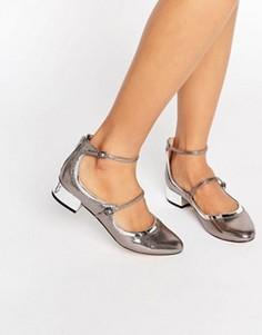 Туфли на плоской подошве с ремешками ALDO Ambrosea - Серебряный