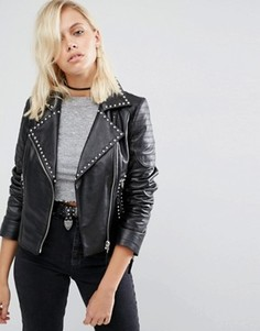 Кожаная байкерская куртка с заклепками ASOS - Черный