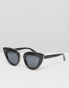 Солнцезащитные очки кошачий глаз с плоским верхом ASOS - Черный