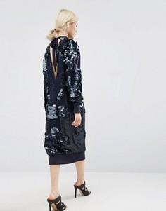 Платье миди с пайетками ASOS WHITE - Черный